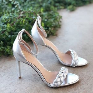 Rachel Zoe Ashton Silver Metallic Braided Heels